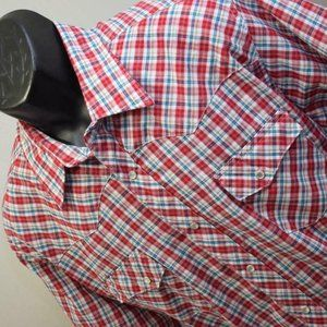 Mens Wrangler Wrancher Plaid Western Pearl Snaps